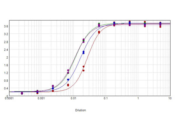 ELISA results of purified Rabbit Anti-Cat IgG F(c) Peroxidase Conjugated Antibody
