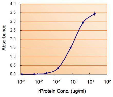 ELISA detection of MAOB using GRP570 for capture at a concentration of 2.5 μg/mL and for detection at a concentration of 0.5 μg/mL.